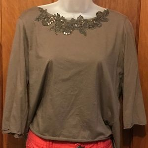 J. Jill brown shirt with decorated collar, size M